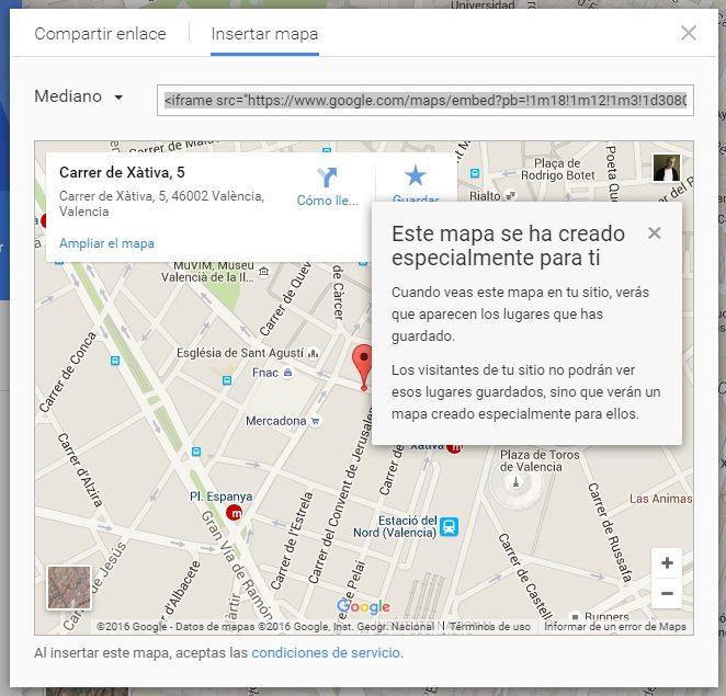 opción insertar mapa google