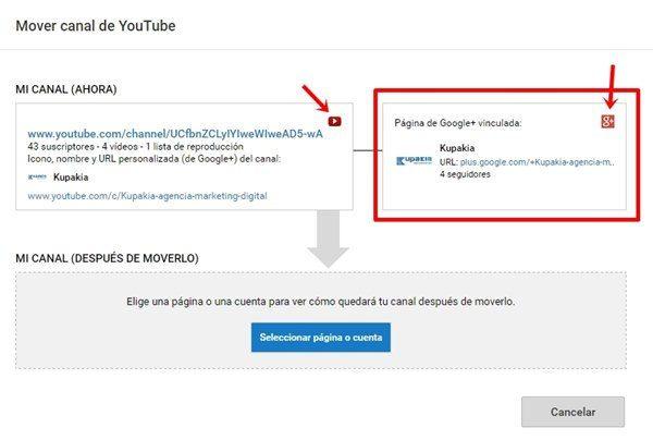 elegir pagina para vincular canal youtube