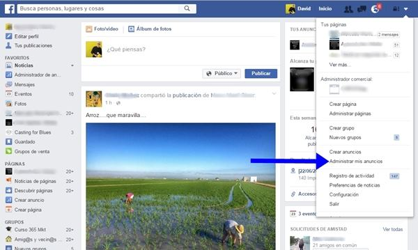 asignar cuentas publicitarias en facebook