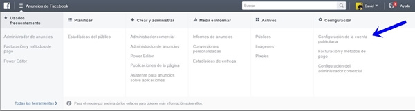 configurar cuenta publicitaria en facebook