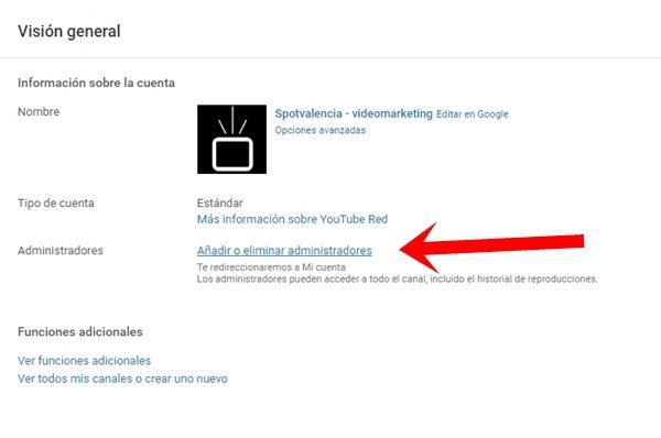 administrar permisos canal youtube