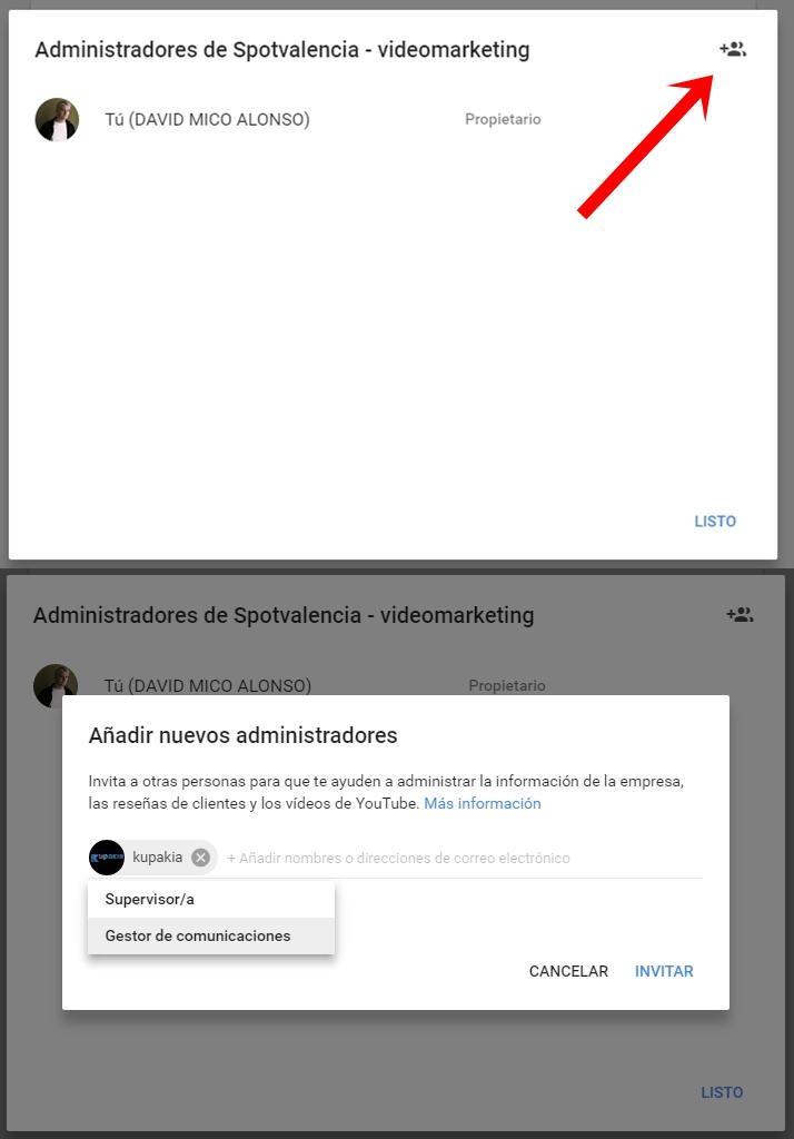 añadir nuevos administradores canal youtube