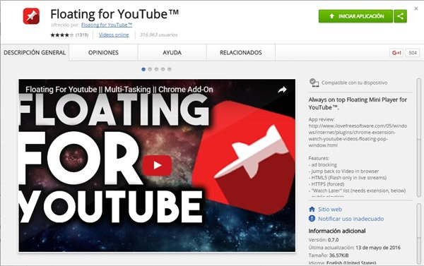 floating for youtube