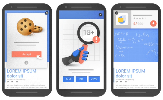 webs con pop-ups que permite google en moviles