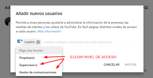 niveles de usuarios en google my business