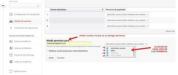 permisos administrador google analytics paso 3