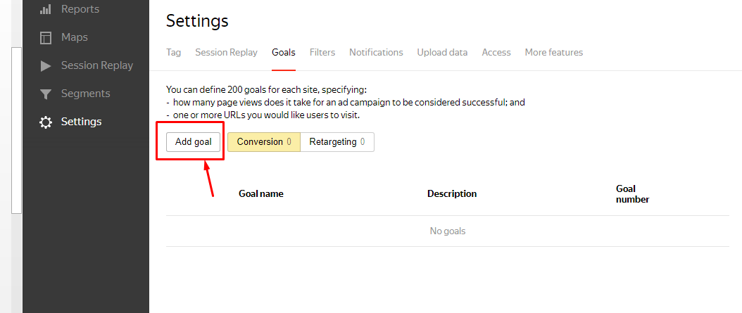 goals yandex metrica